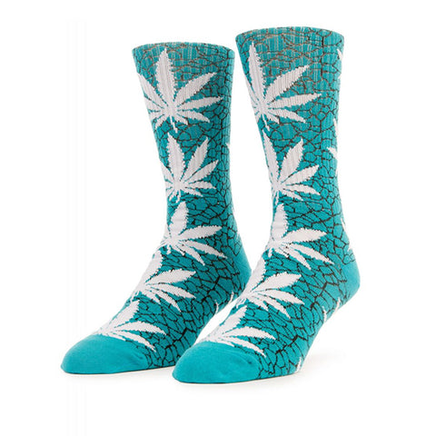 HUF Quake Plantlife Crew Sock in Turquoise