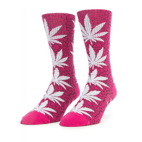 HUF Quake Plantlife Crew Sock in Pink