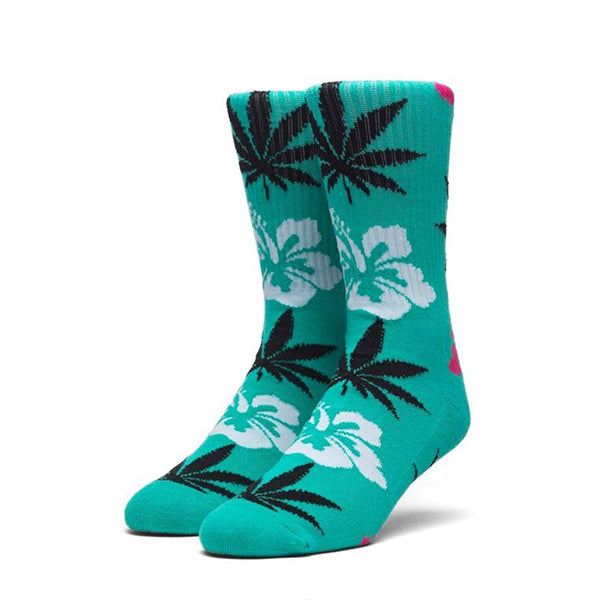 HUF Hibiscus Plantlife Crew Sock in Tropical Green