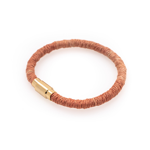 Coral Hemp Wrapped Bracelet with Gold Plated Magnet