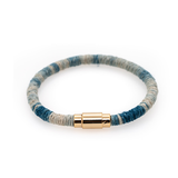Indigo Dip Dyed Light Blue Hemp Wrapped Bracelet with Gold Plated Magnet
