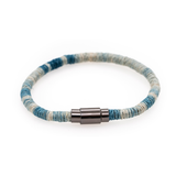 Indigo Dip Dyed Light Blue Hemp Wrapped Bracelet