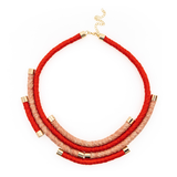 Coral and Pink Hemp Wrapped Necklace