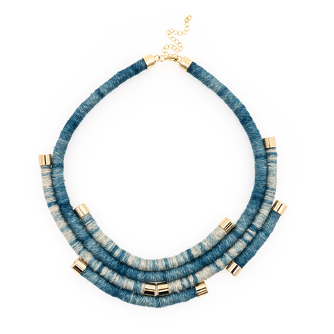 Dip Dyed Indigo Hemp Wrapped Necklace