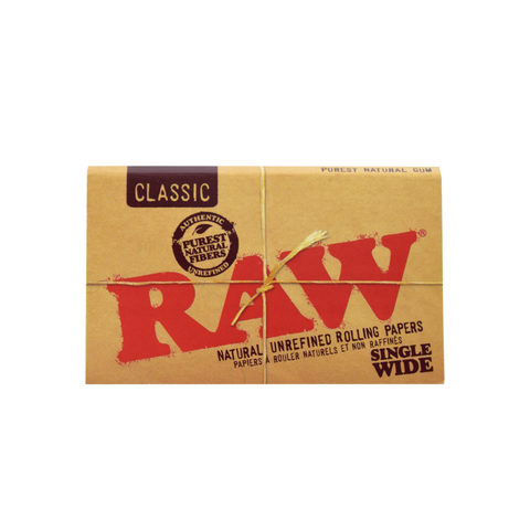 RAW Natural Unrefined Rolling Papers - Single Wide Double Window
