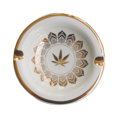 Ceramic Ashtray with Golden Lead Mandala by Fashionably High
