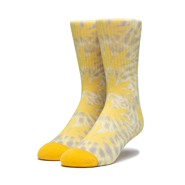 HUF Digital Dye Plantlife Sock in Aurora Yellow