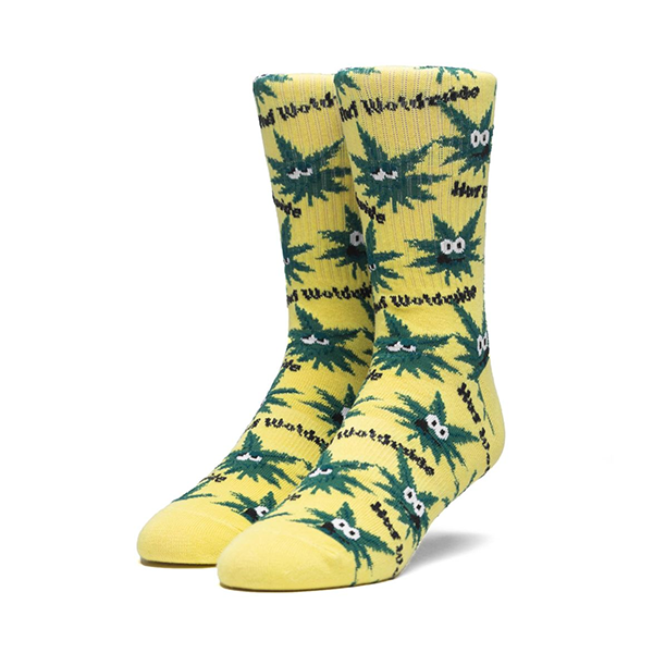 HUF Green Buddies 2 Socks in Aurora Yellow