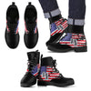 American Flag and Tags Men's Leather Boots