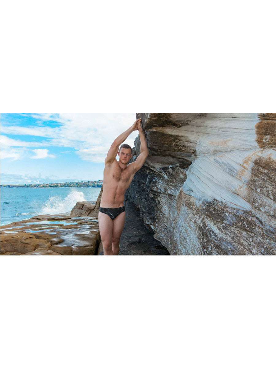 Beach Life Australia - HVNC - Black Marble Swim Brief