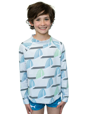 Beach Life Australia - Sandy Feet Australia - Boys  White Sails Long Sleeves Rashie