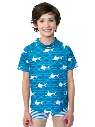 Beach Life Australia - Sandy Feet Australia - Boys Hydro Shark Short Sleeves Rashie