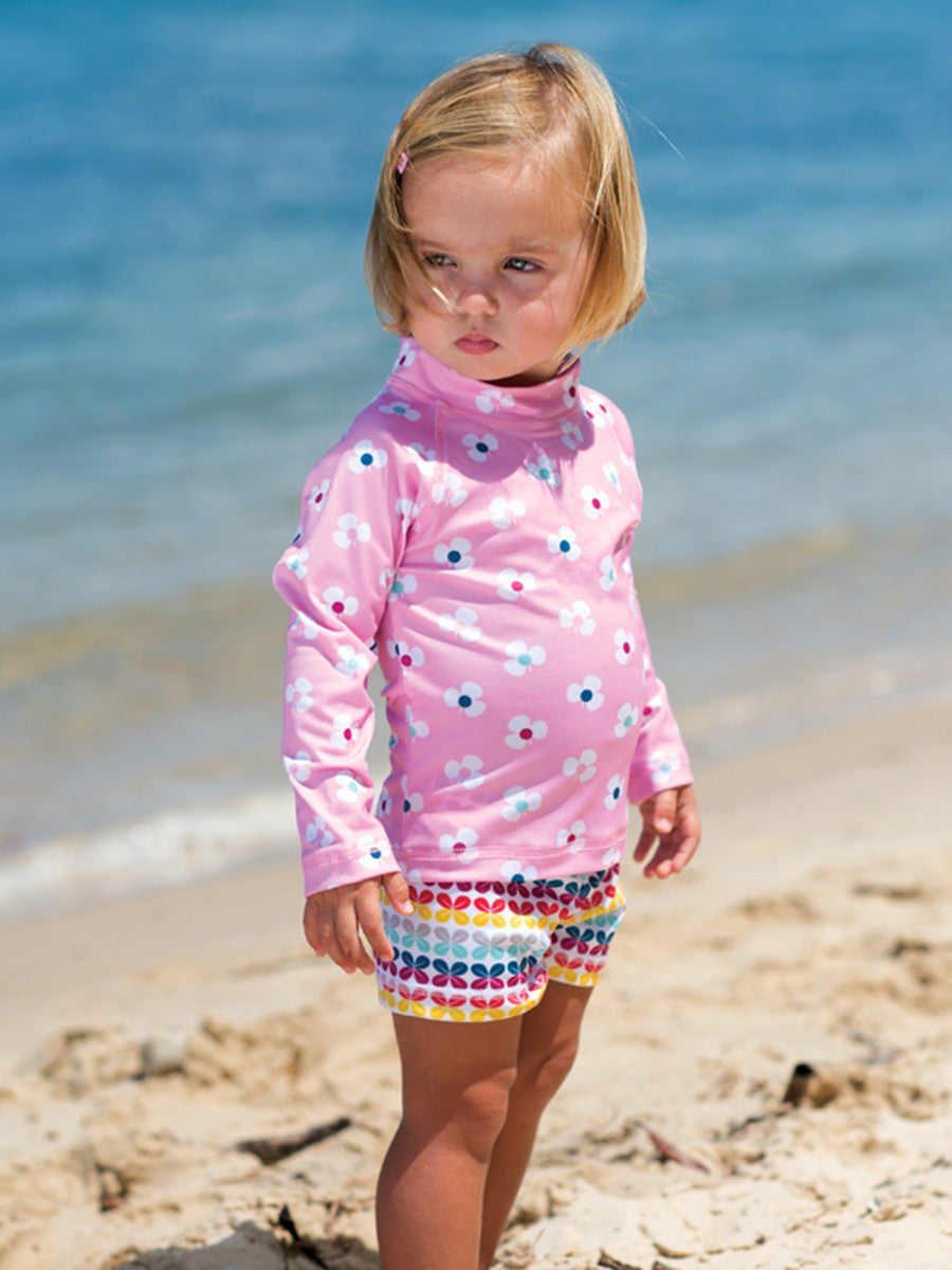 Beach Life Australia - Sandy Feet Australia - Pink Flower Long Sleeve Rashie