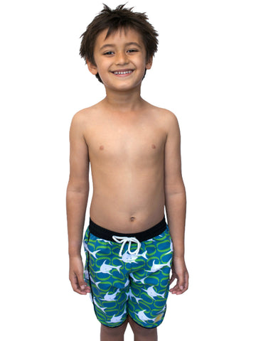Beach Life Australia - Sandy Feet Australia - Boys Green Shark Boardshort