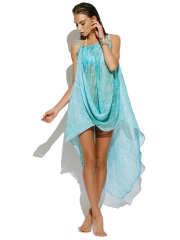 Beach Life Australia - Bondi Bather - Cover Up - Adjustable Maxi Aqua with Swarovski Cystals