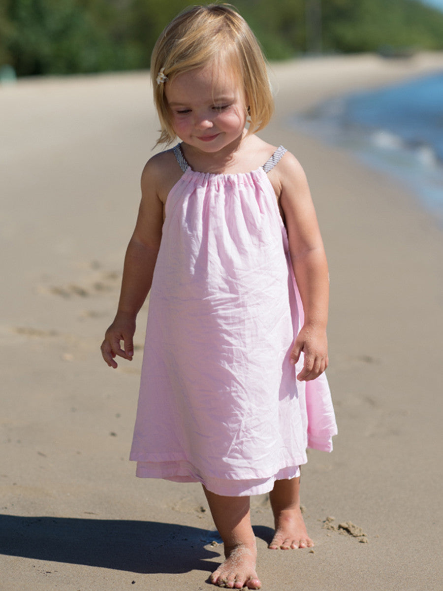 Beach Life Australia - Sandy Feet Australia - Girls Tie Beach Dress Duckegg Blue
