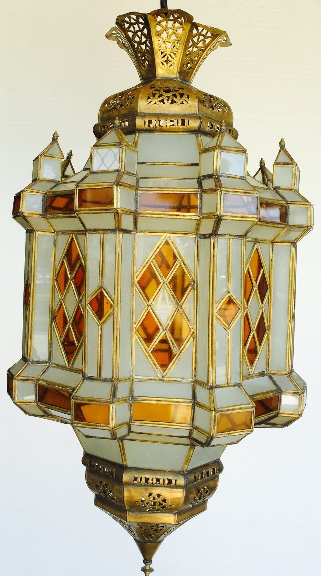 Moroccan brass large lantern - handmade Moorish Lighting - Moorishlighting