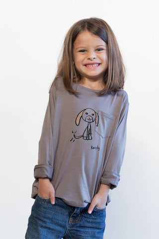 THE HAPPY MAX_mini grey longsleeve tee