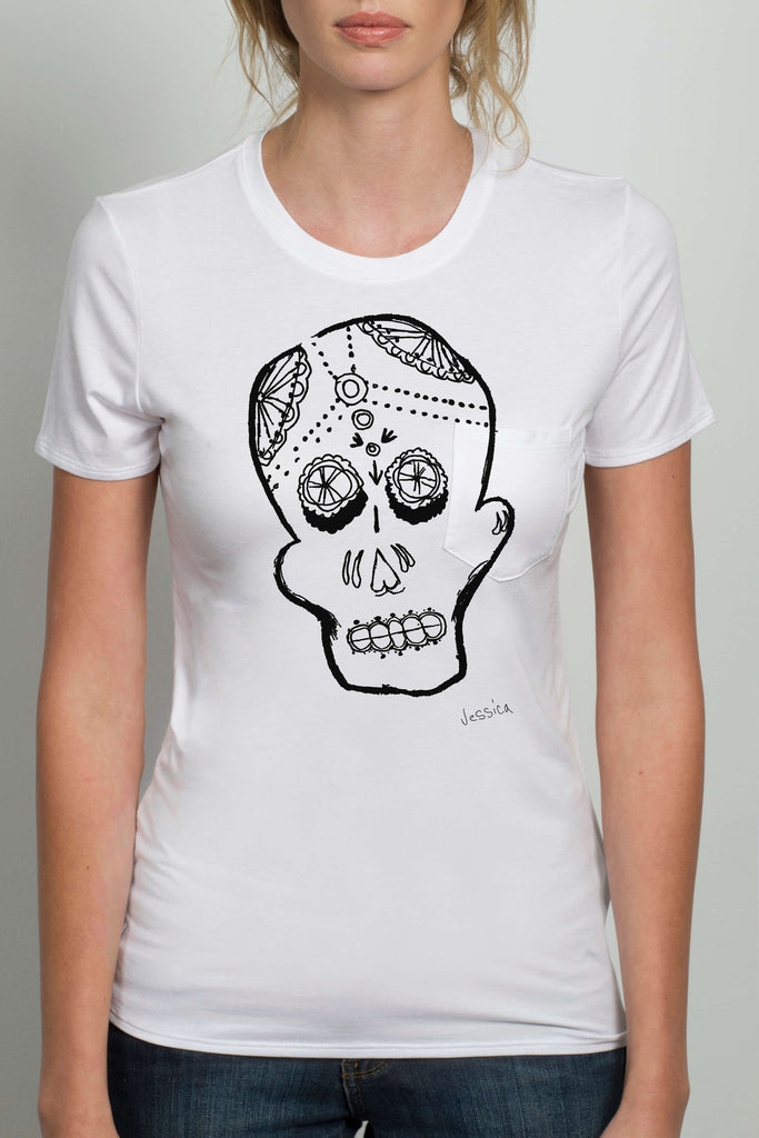 THE SKULL_signature white crewneck tee