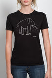 womans black fashion elephant tee