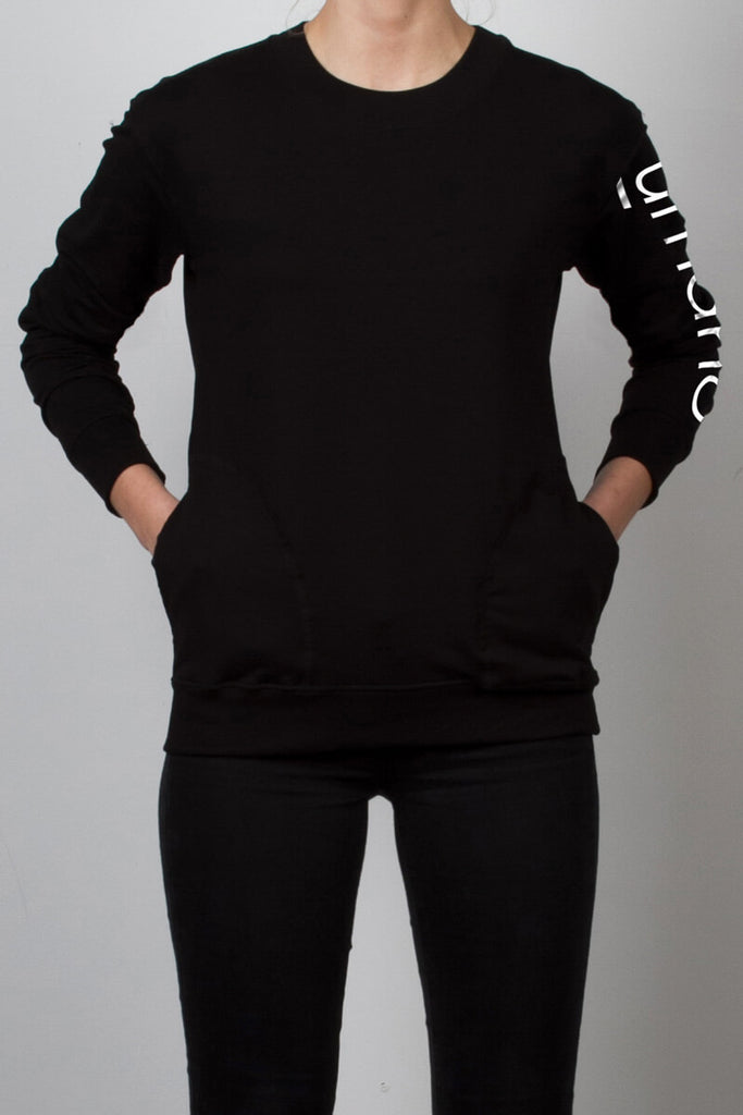 THE TINY DANCER_signature fleece black sweatshirt