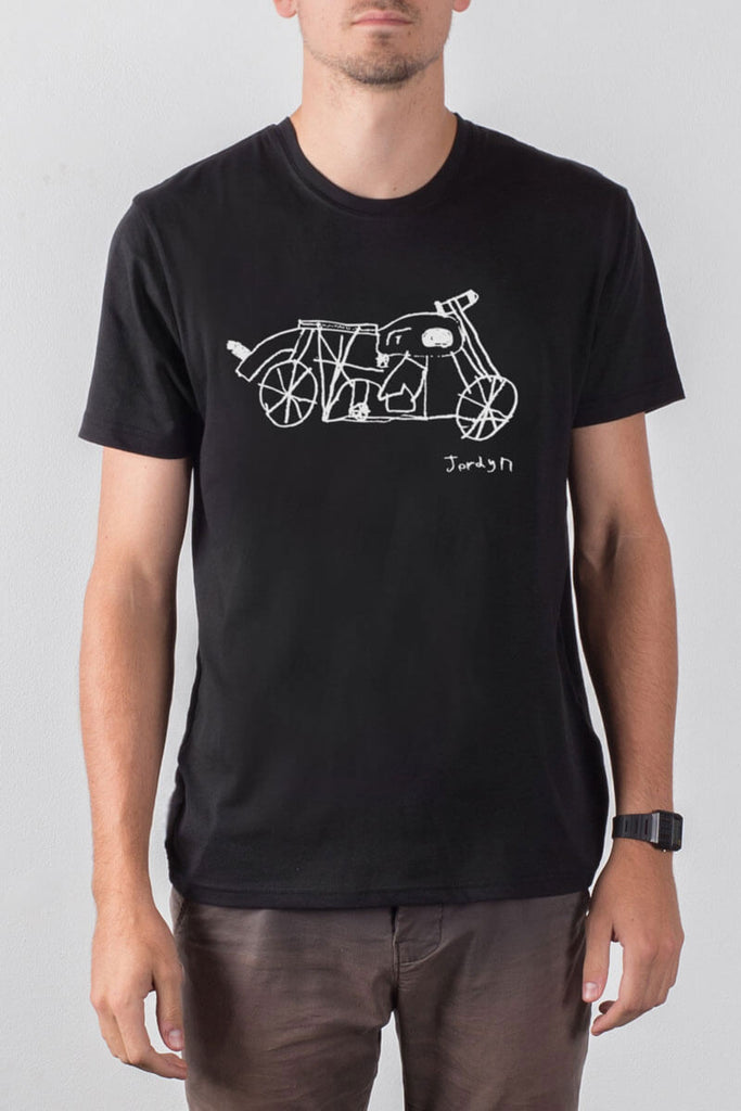 mens black fashion motorcycle tee