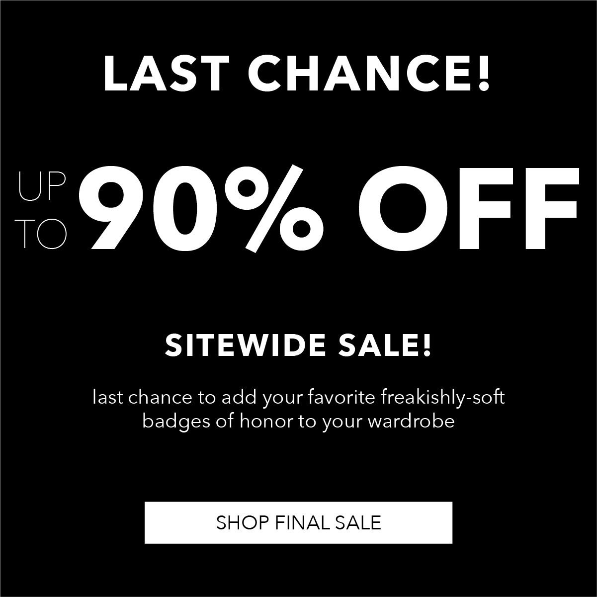 up to 90% off: thank you for an amazing journey!