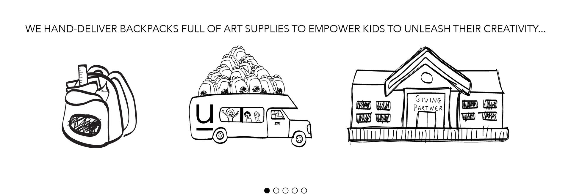 we hand-deliver backpacks full of art supplies to empower kids to unleash their creativity...
