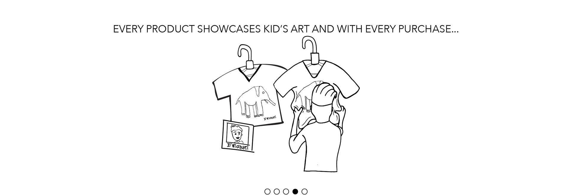 every product showcases kid's art, and with every purchase...