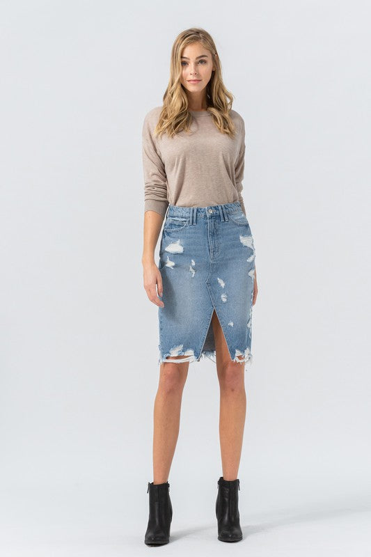 PREORDER Holli Distressed Denim Skirt