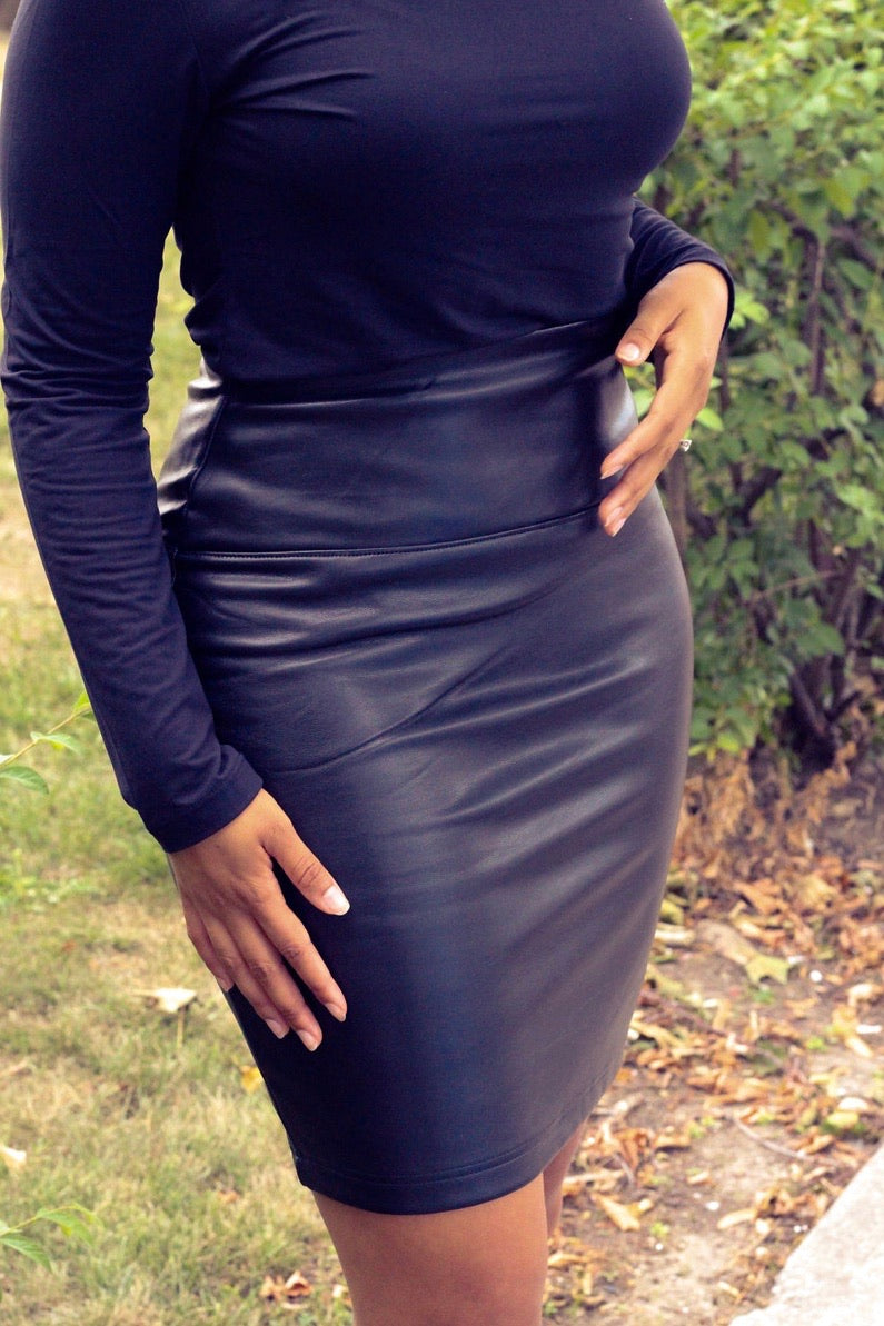 Sage Faux Leather Skirt