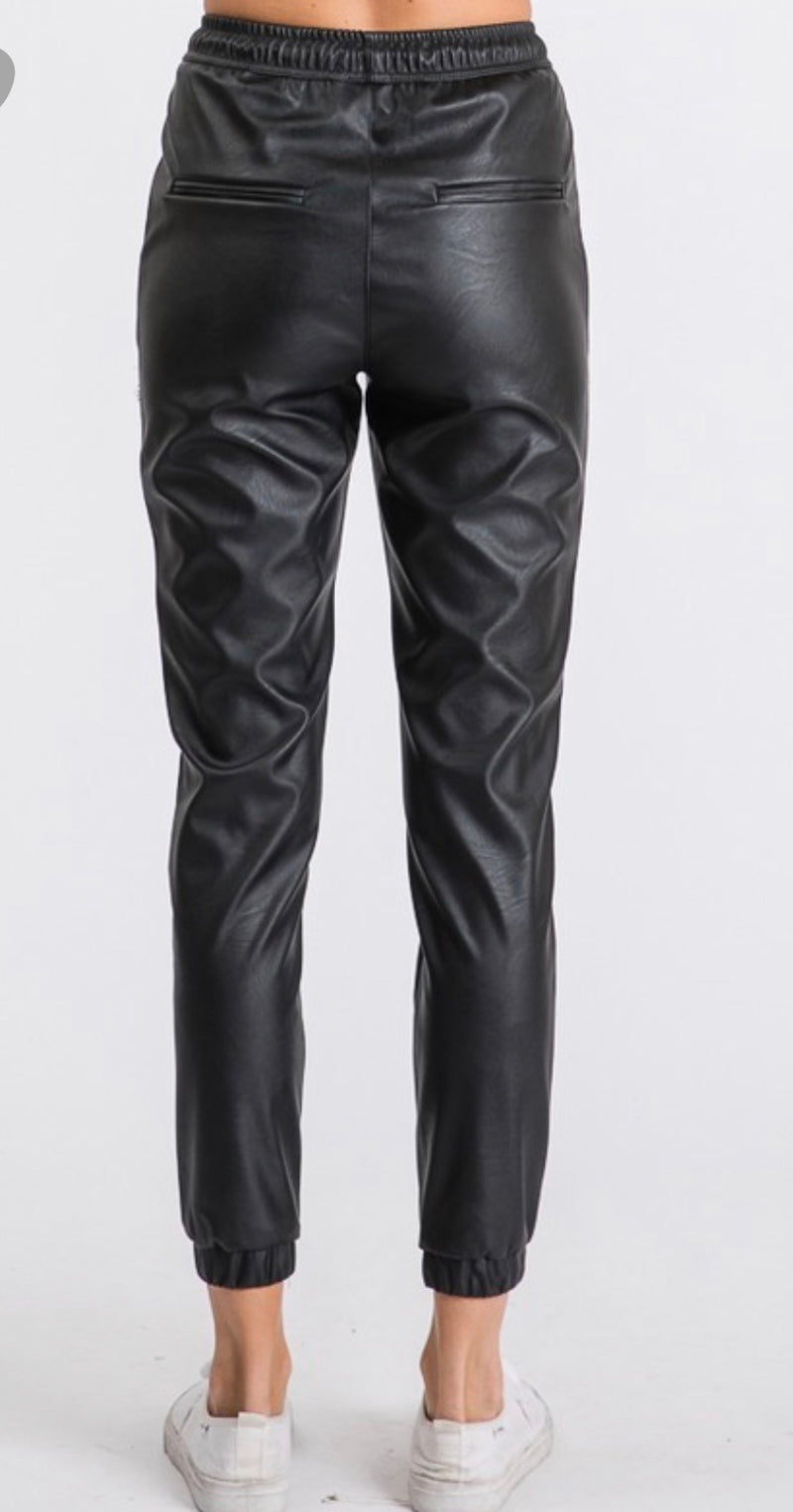 Brooklyn Faux Leather Joggers