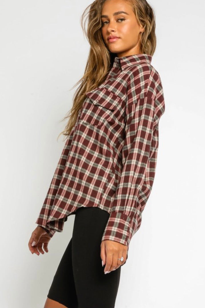 Merlot Plaid Top