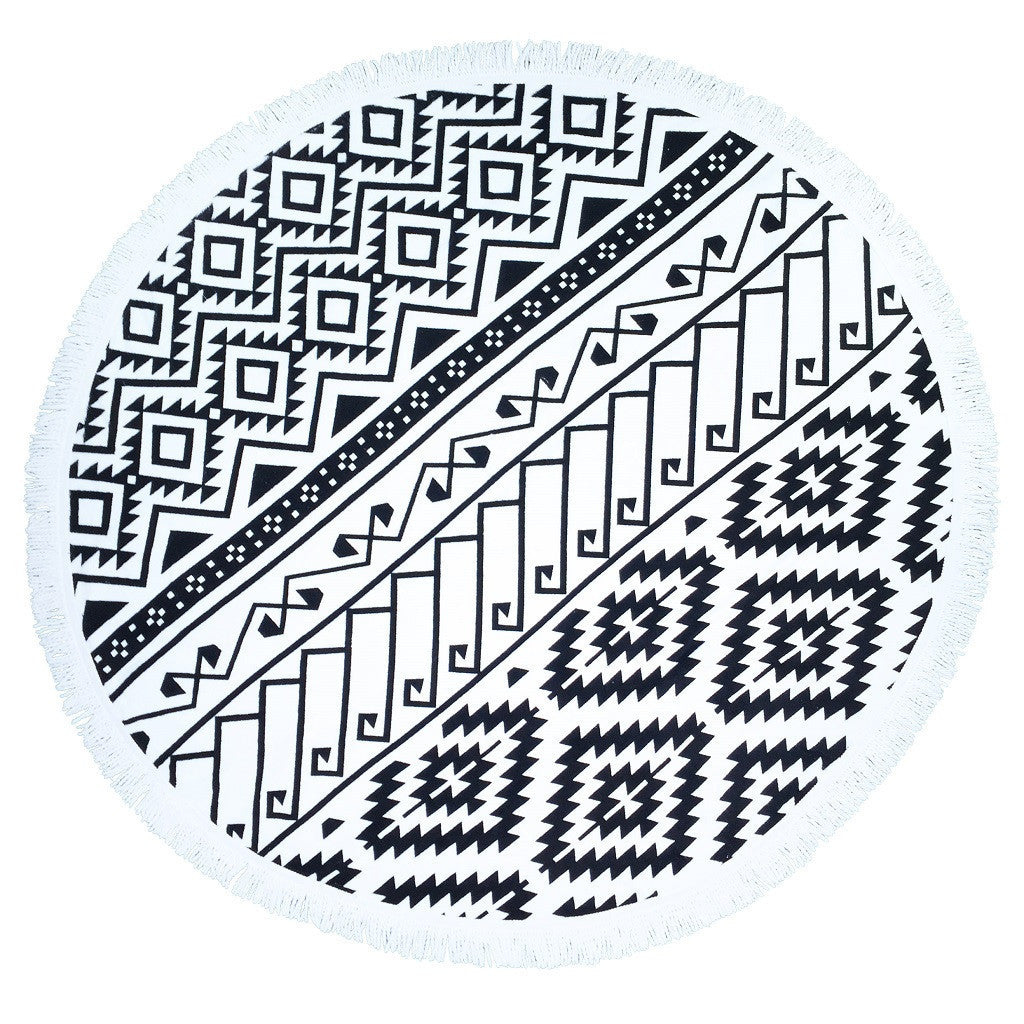 Tribal Black & White Round Beach Blanket