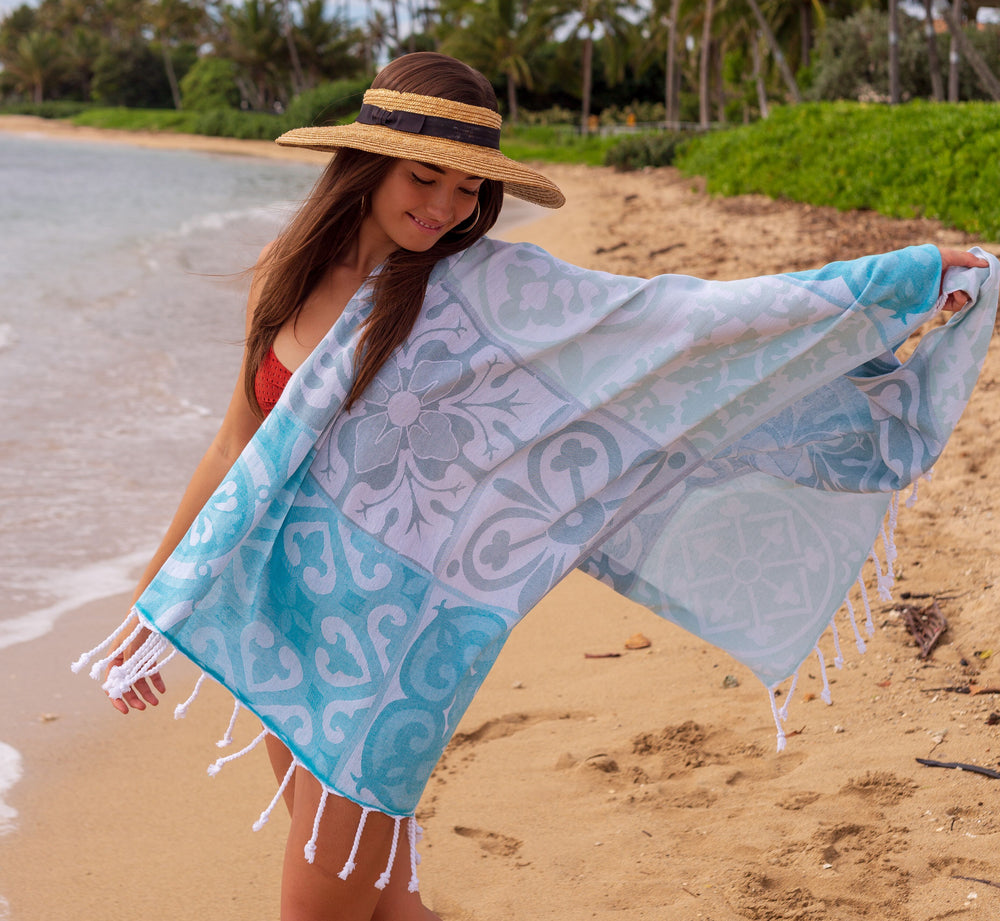 Mosaic Azure Turkish Towel