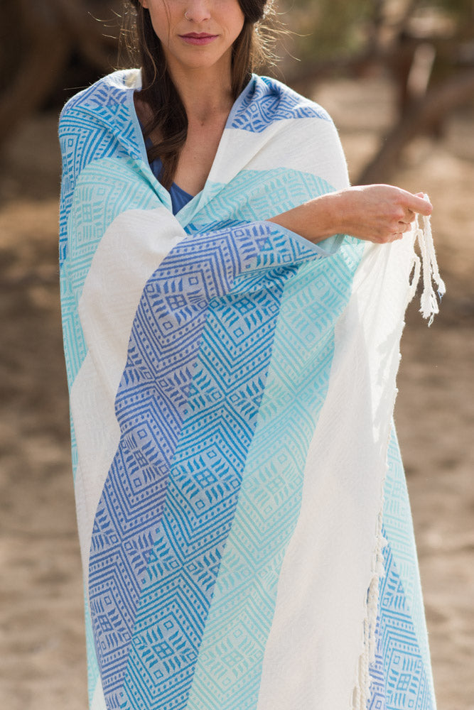 Blue Waves Turkish Towel
