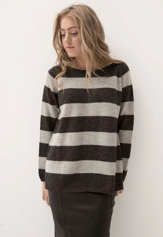 ESENCIA Alpaca Sweater Mary CHARCOAL GREY STRIPE