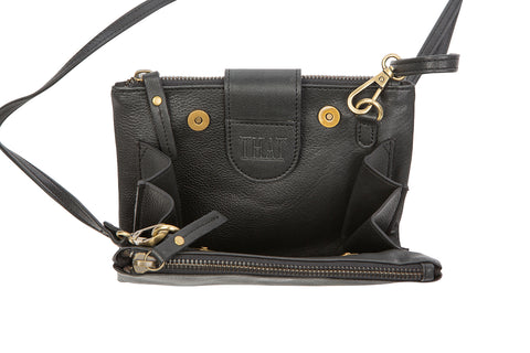 Love THAT leather Bumbag / Shoulder bag /Clutch purse BLACK