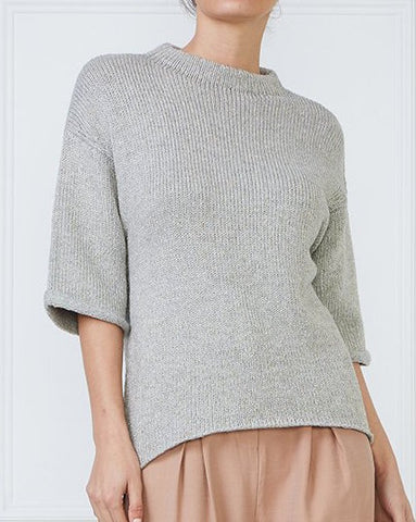 Metallic Half Sleeve Knit Top
