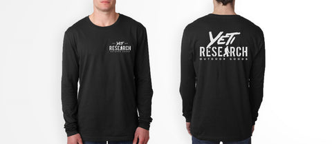 Yeti Research Long Sleeve Shirt Black Front and Back mock