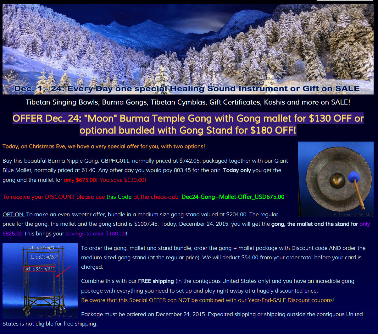 Incredible holiday savings on a beautiful gong package!