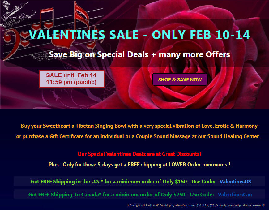 Big Valentines Day Sale with Gifts of Sound for Love, Feb 10-14 at Heaven of Sound