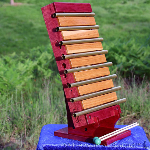 Custom made 8 Chakra Chime set with Purple Heart wooden box, handcrafted at Heaven of Sound