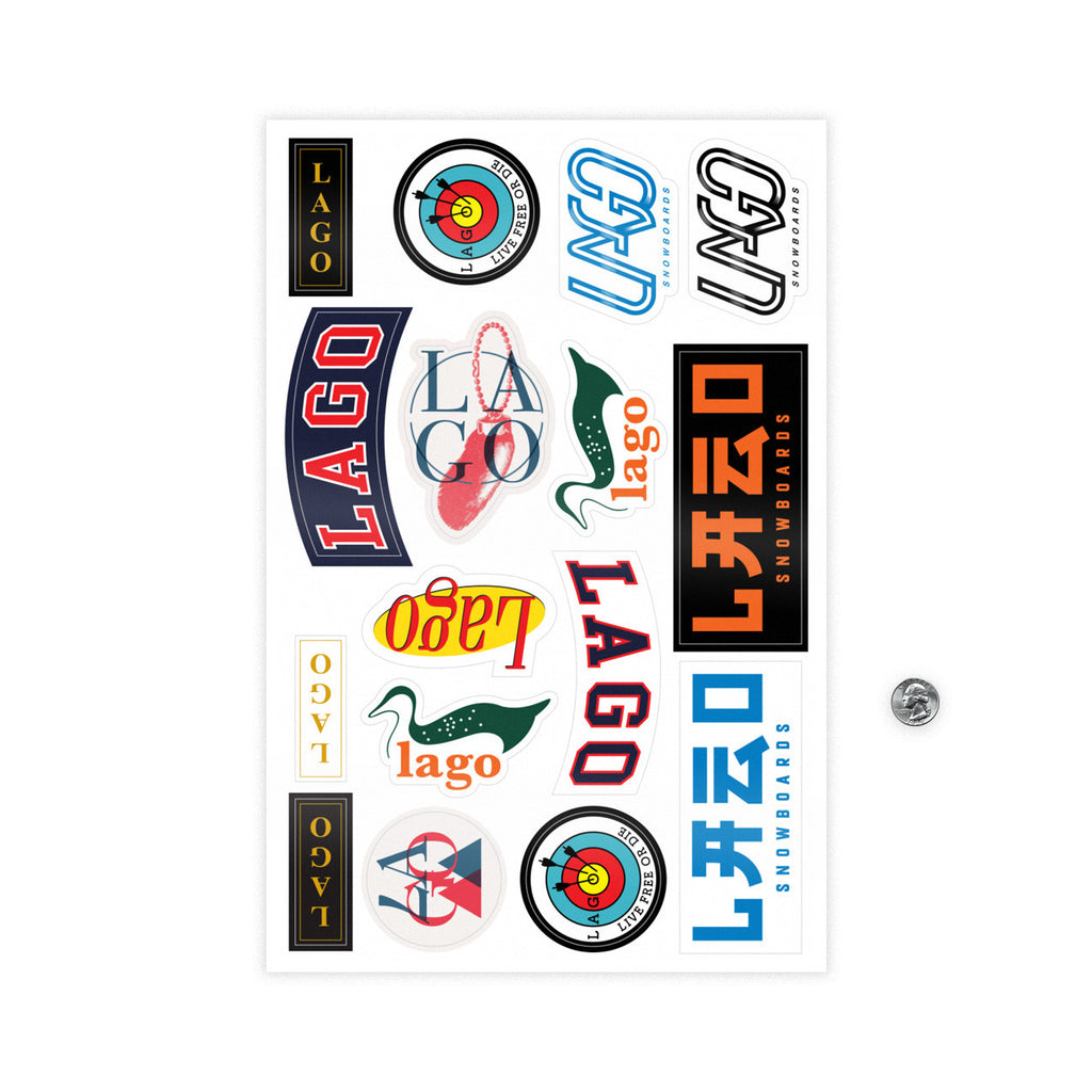 Lago Snowboards Get Stoked Sticker Pack