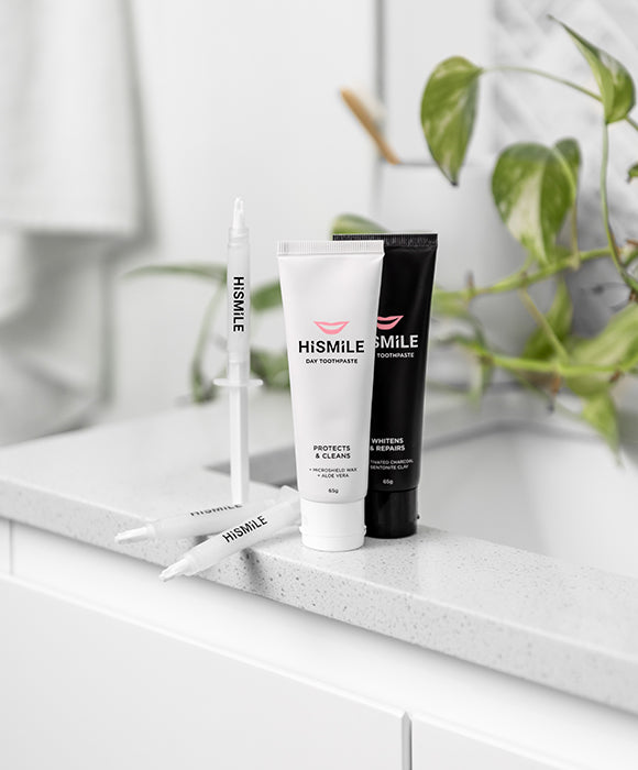 HiSmile's Essentials set containing day and night toothpaste and gel refills to maintain a whiter smile after your initial whitening treatment.