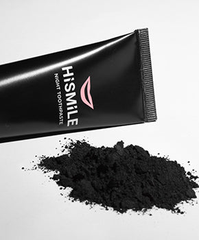 HiSmile's Night Toothpaste which features activated charcoal for teeth whitening.