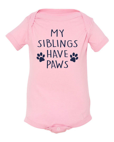 My Siblings have Paws Baby Onesie