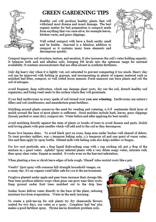 Green Gardening Tips - Garden Show Tract - Verity & Charity Publications