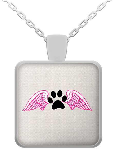 Paw with angel wings - dog necklace - dog necklaces - dog stuff - Dogs Make Me Happy