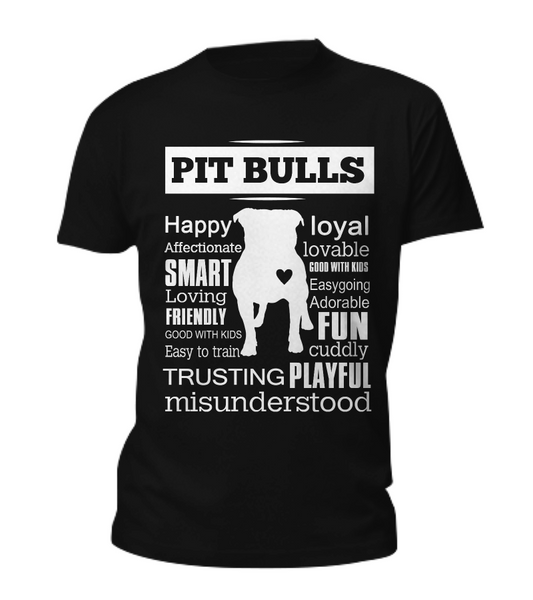 Pit Bull word shirt - Dogs Make Me Happy - 3
